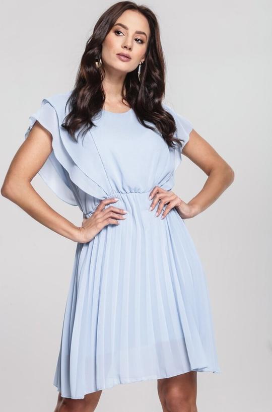 Niebieska sukienka Renee mini trapezowa w stylu casual