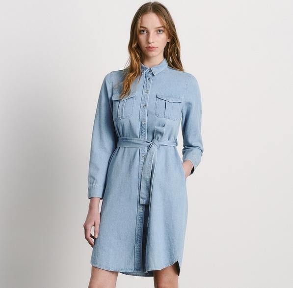 Niebieska sukienka Reserved z długim rękawem mini szmizjerka