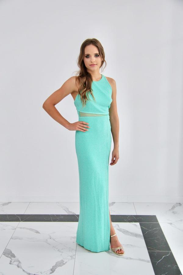Niebieska sukienka Rokado bez rękawów maxi
