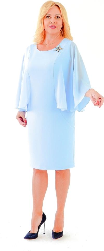 Niebieska sukienka Roxana - sukienki ołówkowa z długim rękawem