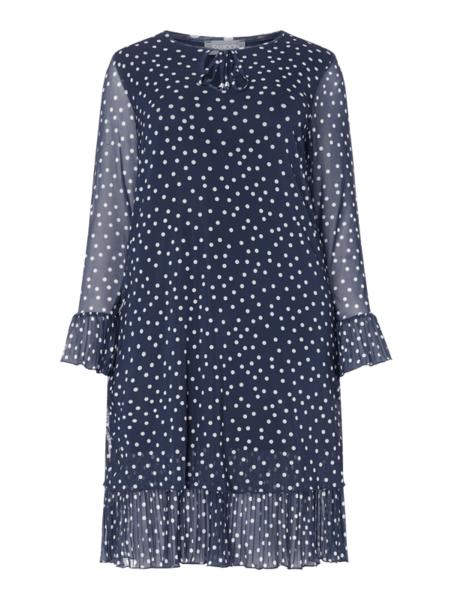 Niebieska sukienka Samoon z dekoltem w kształcie litery v z długim rękawem mini