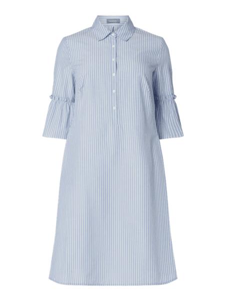 Niebieska sukienka Samoon z długim rękawem koszulowa mini