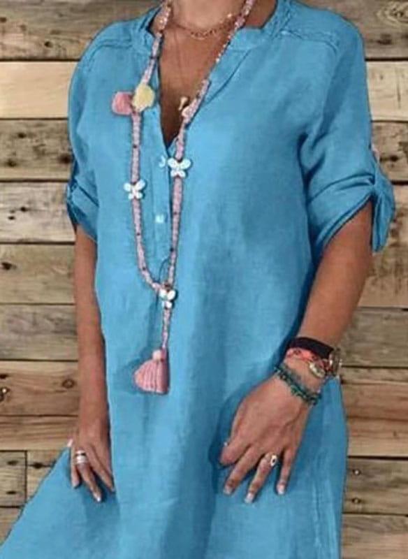 Niebieska sukienka Sandbella midi w stylu casual z długim rękawem
