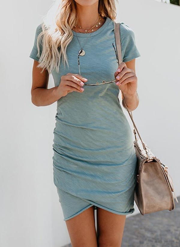 Niebieska sukienka Sandbella mini z okrągłym dekoltem w stylu casual
