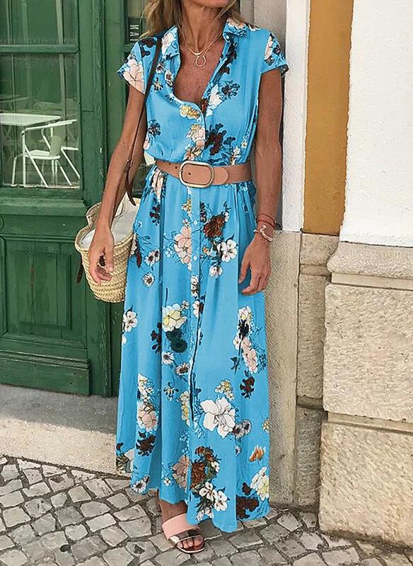Niebieska sukienka Sandbella w stylu boho
