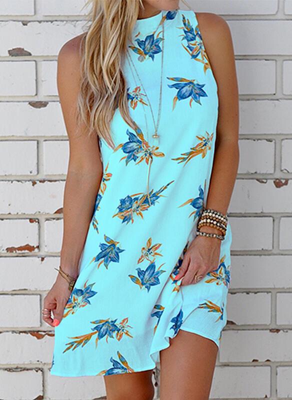 Niebieska sukienka Sandbella z dekoltem na plecach
