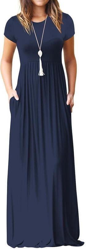Niebieska sukienka Sandbella z krótkim rękawem