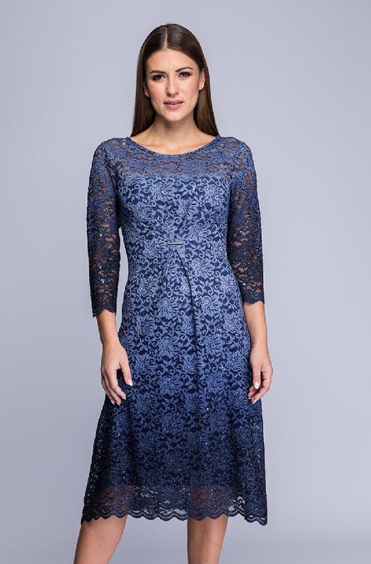 Niebieska sukienka Semper z długim rękawem