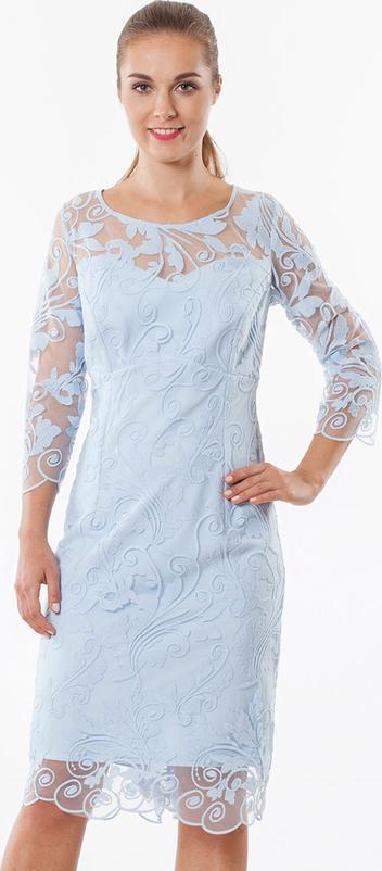 Niebieska sukienka Semper z okrągłym dekoltem z długim rękawem midi