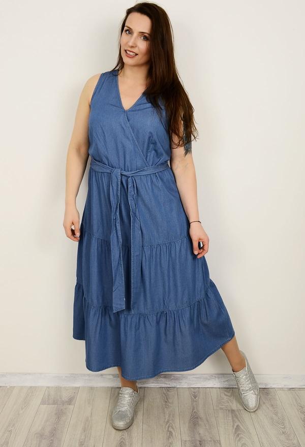 Niebieska sukienka Sheego z jeansu z dekoltem w kształcie litery v