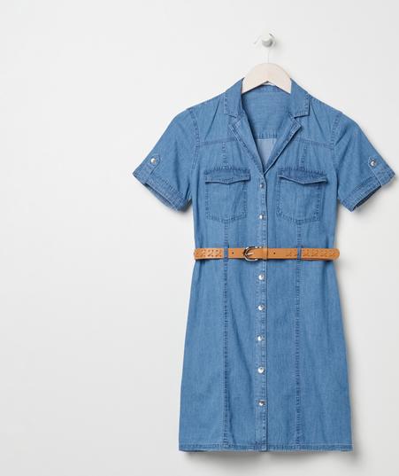 Niebieska sukienka Sinsay koszulowa z krótkim rękawem z jeansu