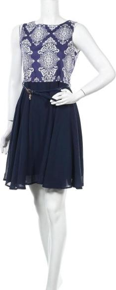 Niebieska sukienka Stella mini z okrągłym dekoltem bez rękawów