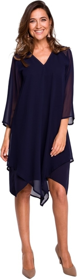 Niebieska sukienka Style z długim rękawem w stylu casual z szyfonu