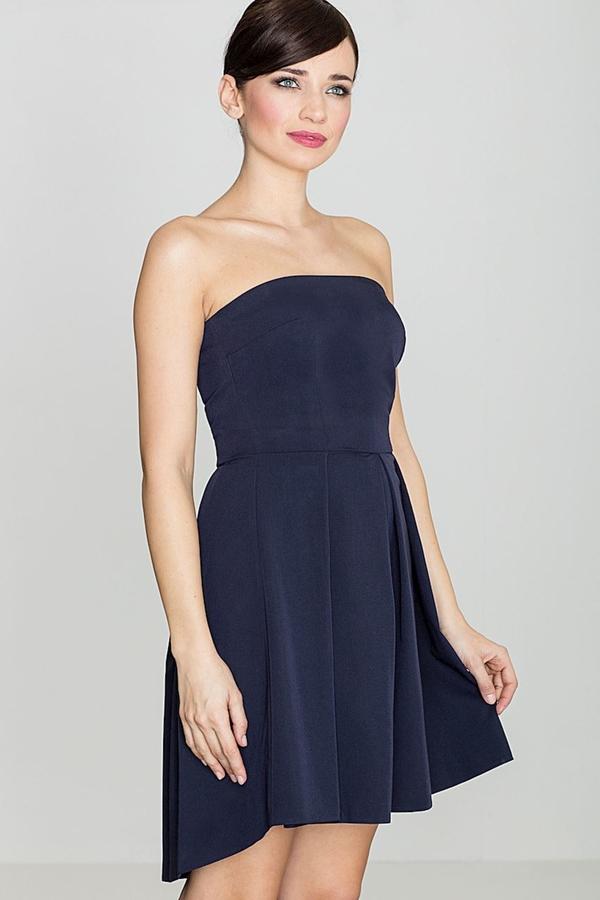Niebieska sukienka sukienki.pl bez rękawów gorsetowa