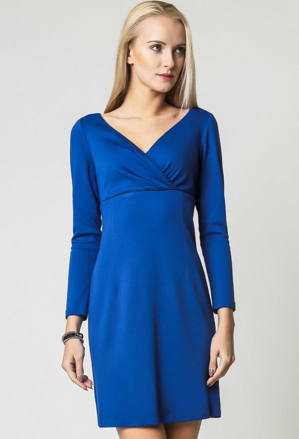 Niebieska sukienka sukienki.pl mini z długim rękawem