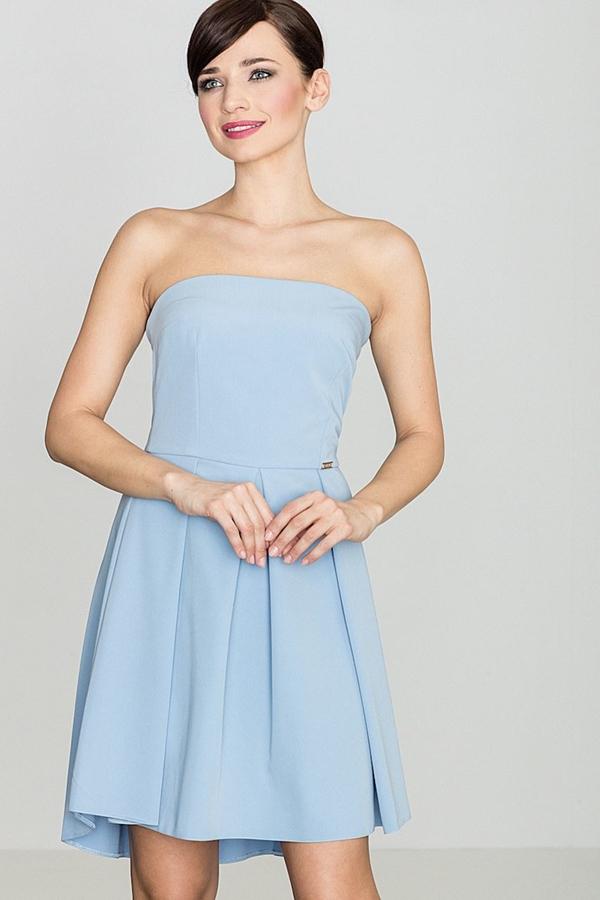 Niebieska sukienka sukienki.pl rozkloszowana bez rękawów