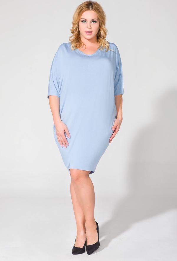 Niebieska sukienka sukienki.pl w stylu casual midi z krótkim rękawem