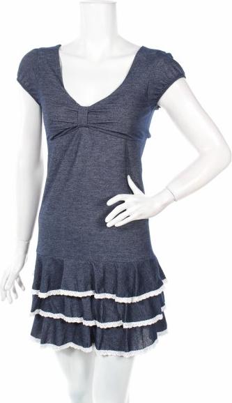Niebieska sukienka Sweet z krótkim rękawem mini w stylu casual