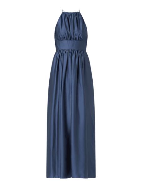 Niebieska sukienka Swing maxi z satyny bez rękawów