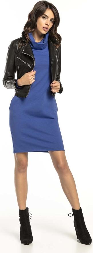 Niebieska sukienka Tessita mini z długim rękawem z bawełny