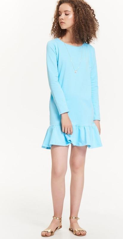 Niebieska sukienka Troll mini z okrągłym dekoltem w stylu casual