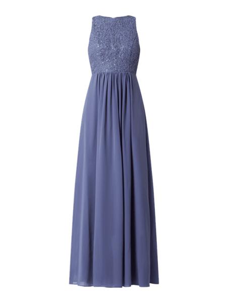 Niebieska sukienka V.m. z dekoltem halter z szyfonu