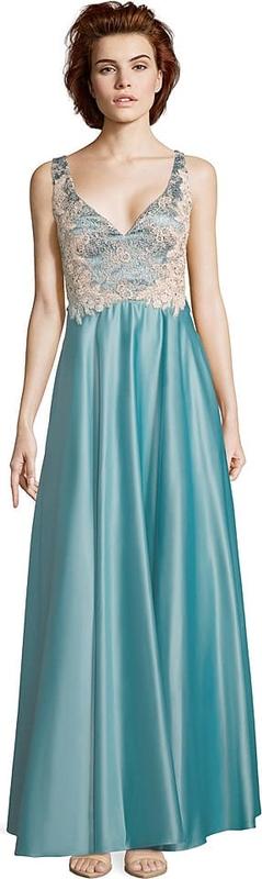 Niebieska sukienka Vera Mont z dekoltem w kształcie litery v bez rękawów