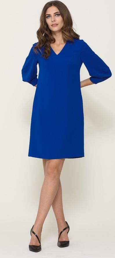 Niebieska sukienka VISSAVI z długim rękawem