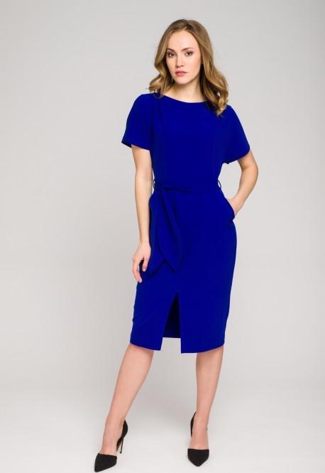 Niebieska sukienka VISSAVI z okrągłym dekoltem midi z krótkim rękawem