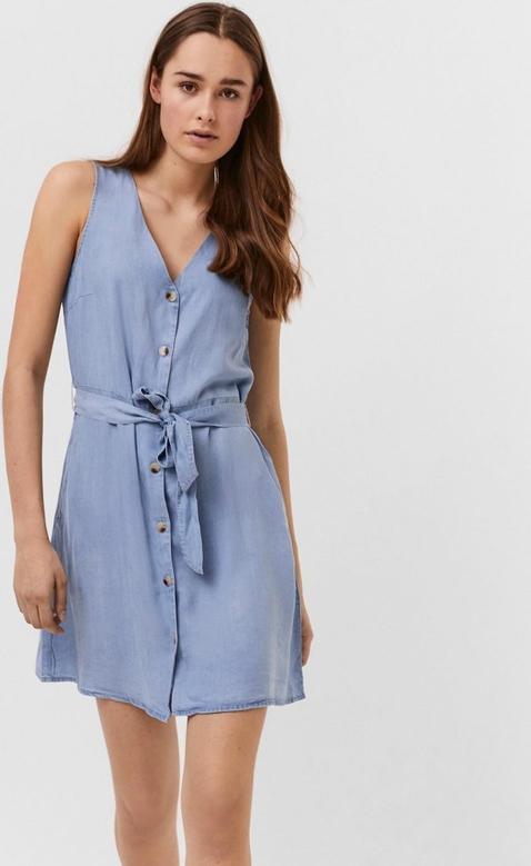 Niebieska sukienka WARESHOP w stylu casual z dekoltem w kształcie litery v