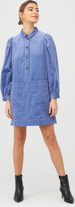 Niebieska sukienka Whistles w stylu casual ze sztruksu z długim rękawem