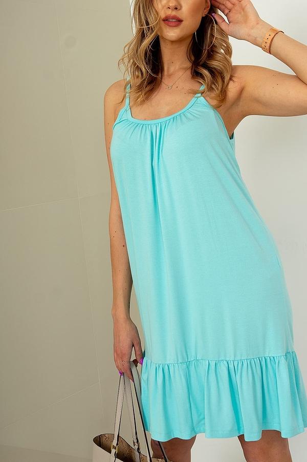 Niebieska sukienka ZOiO.pl z okrągłym dekoltem z bawełny trapezowa