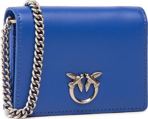 Niebieska torebka Pinko matowa ze skóry mała