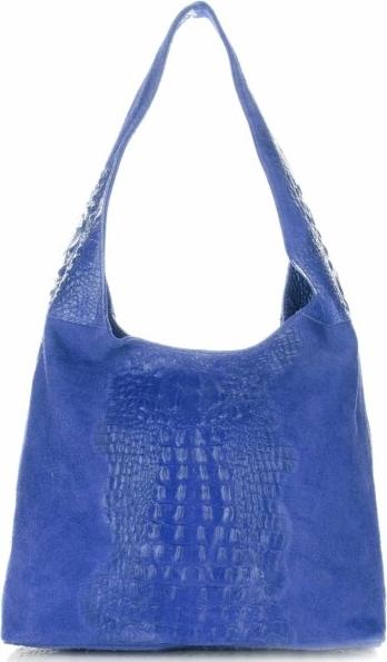 Niebieska torebka Vera Pelle z zamszu