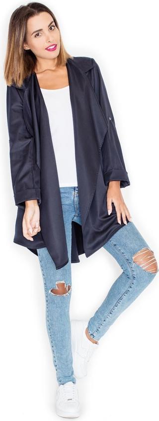 Niebieski płaszcz Katrus w stylu casual