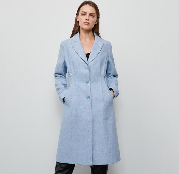 Niebieski płaszcz Reserved z wełny w stylu casual