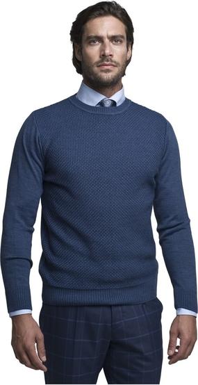 Niebieski sweter Borgio z wełny w stylu casual