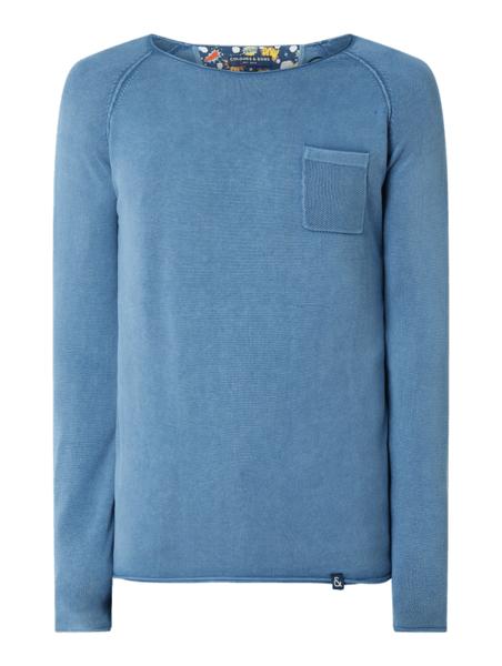 Niebieski sweter Colours & Sons w stylu casual