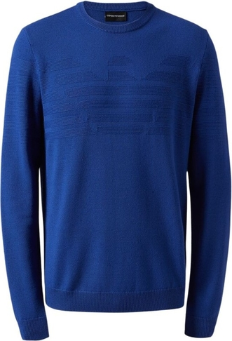 Niebieski sweter Emporio Armani w stylu casual z okrągłym dekoltem