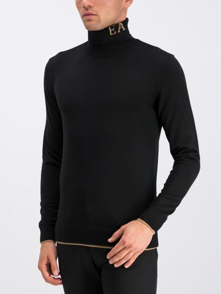Niebieski sweter Emporio Armani z nadrukiem