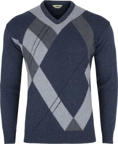 Niebieski sweter J&h w stylu casual z wełny