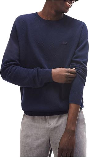 Niebieski sweter Lacoste z dżerseju w stylu casual z okrągłym dekoltem