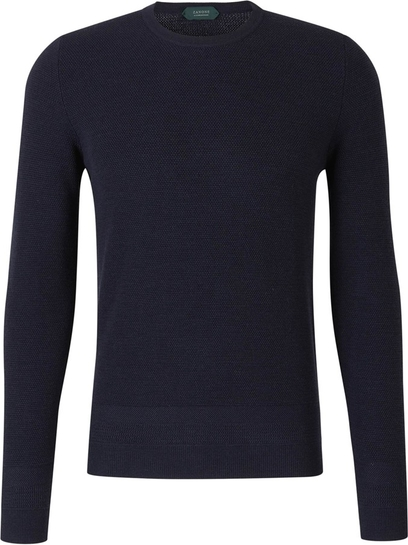 Niebieski sweter Zanone w stylu casual z dżerseju