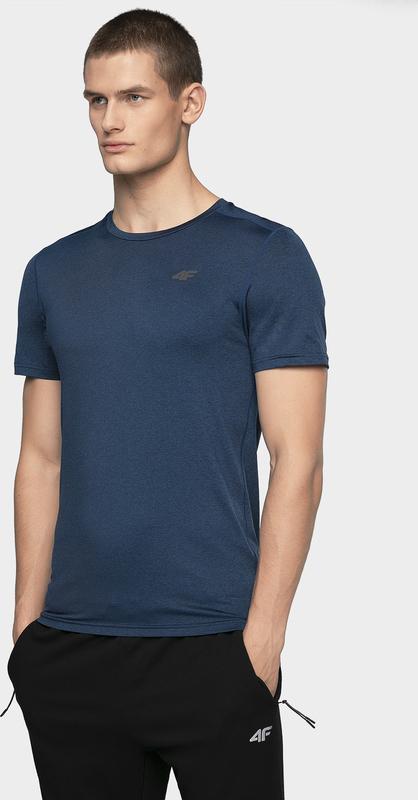 Niebieski t-shirt 4fsklep.pl z dzianiny