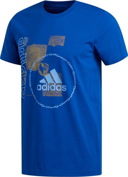 Niebieski t-shirt Adidas z bawełny