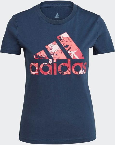 Niebieski t-shirt Adidas z krótkim rękawem w sportowym stylu