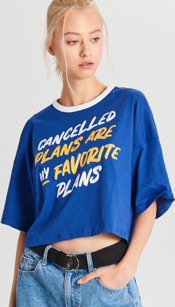 Niebieski t-shirt Cropp z okrągłym dekoltem z krótkim rękawem