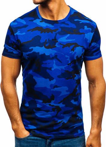 Niebieski t-shirt Denley w militarnym stylu z bawełny z krótkim rękawem
