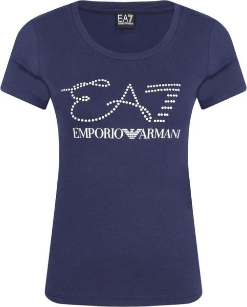 Niebieski t-shirt EA7 Emporio Armani w stylu casual z krótkim rękawem