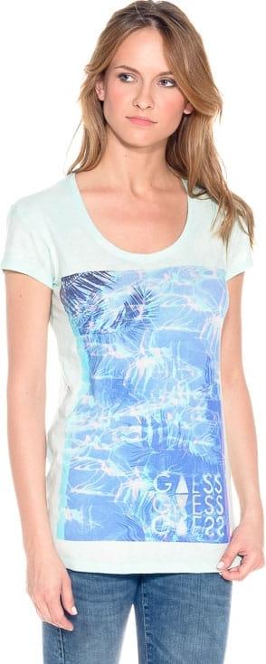 Niebieski t-shirt Guess z okrągłym dekoltem